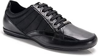 Bambooa Men's Chrome Designer Quality Black Leather & Mesh Detail Smart Casual Shoes Trainers