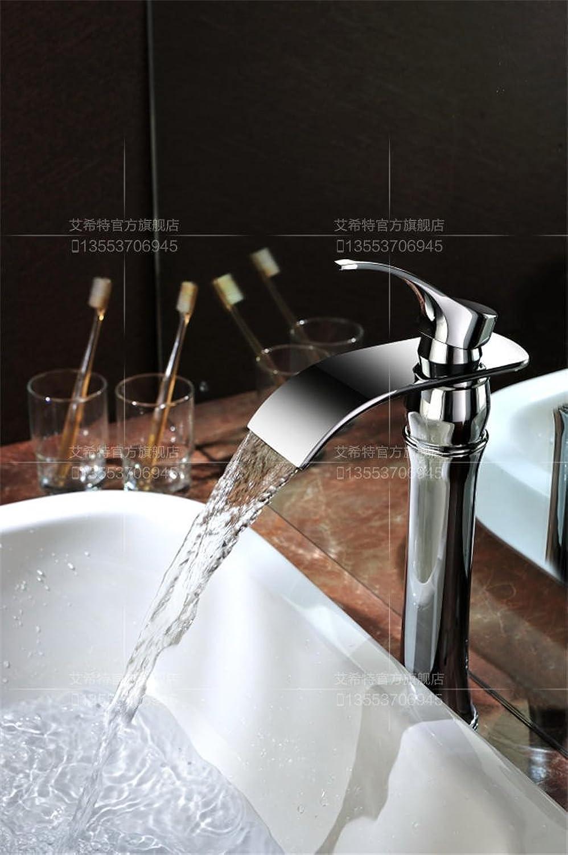 MangeooVolle Kupfer plus hohe Plattform Goldenen Wasserfall Waschbecken Armatur, Chrom