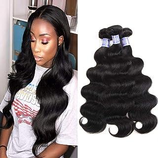 Sayas Hair 10A Grade Brazilian Body Wave Human Hair Bundles Weave Hair Human Bundles Brazilian Virgin Hair For African Americans Women 3 Bundles Total 300g/10.5oz (10 12 14) Inch