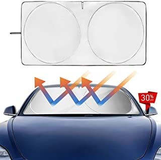 Easy Eagle ODM Windshield Sunshade Custom Fit Sun Shade for Tesla Model-3 2018 2019 (Silver, Pack of 1)