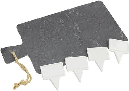 Preisvergleich für COM-FOUR® Schneidebrett aus Schiefer mit 4 Markierungstäfelchen, Käsebrett, 33 x 15 cm, 5-teiliges Set