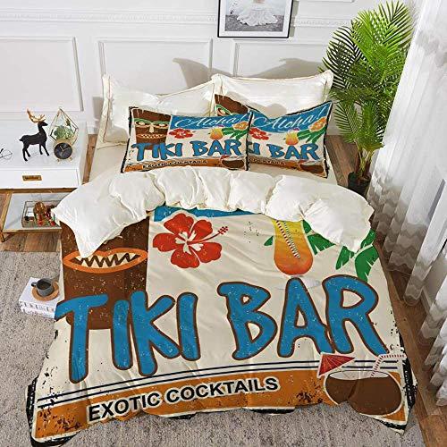 ropa de cama: juego de funda nórdica, decoración de barra Tiki, letrero vintage oxidado Aloha cócteles exóticos bebida de coco Nostalgi antiguo, juego de funda nórdica de microfibra hipoalergénica con