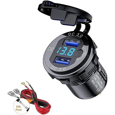 Thlevel Chargeur de Voiture USB Quick Charge QC 3.0 Double Port de Adaptateur étanche Charge Rapide 36W avec Voltmètre Numérique LED pour 9V - 32V Bateau Moto ATV Bus Camion SUV (Noir)