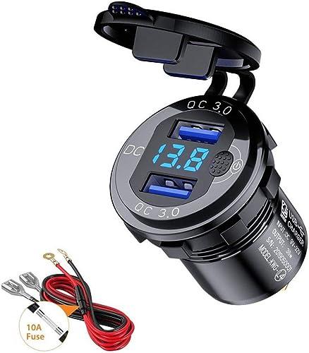 Thlevel Chargeur de Voiture USB Quick Charge QC 3.0 Double Port de Adaptateur étanche Charge Rapide 36W avec Voltmètr...