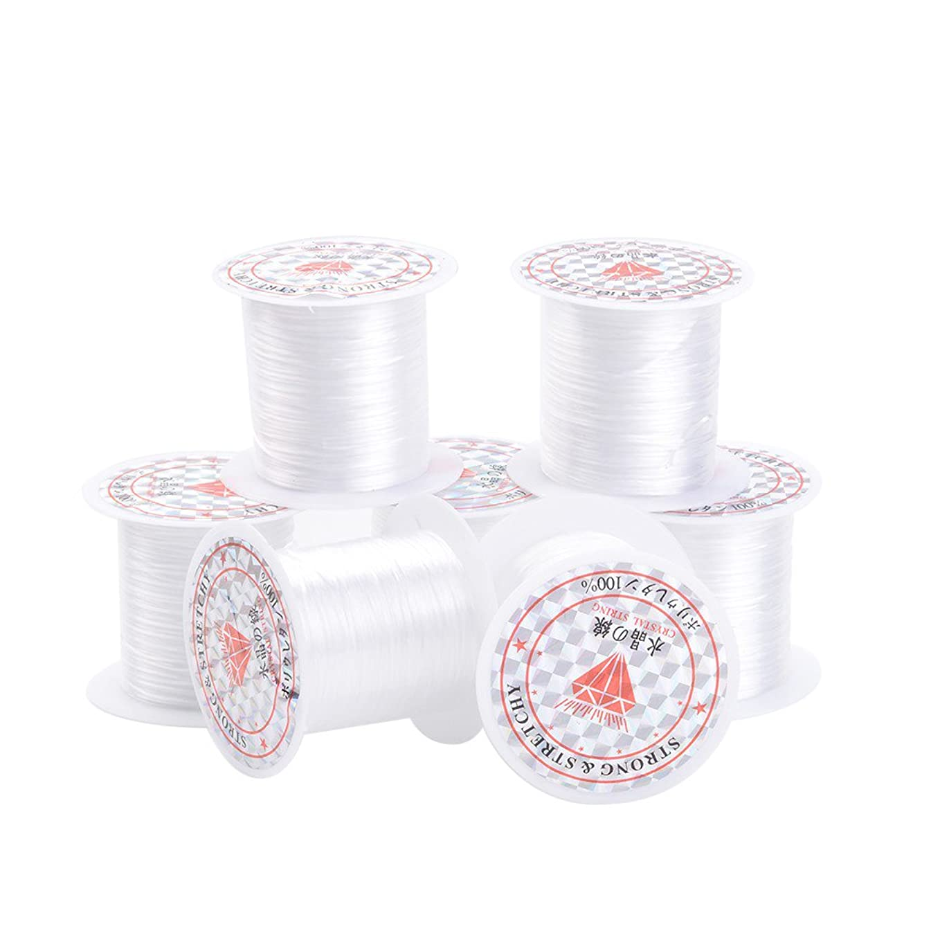 Pandahall 25rolls/bag 0.8mm Elastic Stretch Fibre Wire Jewelry Bracelet Crystal String Cord 10m/roll White