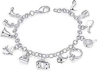 سوار خلخال للنساء من الفضة الاسترلينية عيار 925 مع 12 تعليقة من بيستبيكس مثالي ك هدية للنساء