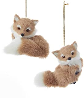 The Bridge Collection Furry Fox Ornaments, Set of 2 Assorted