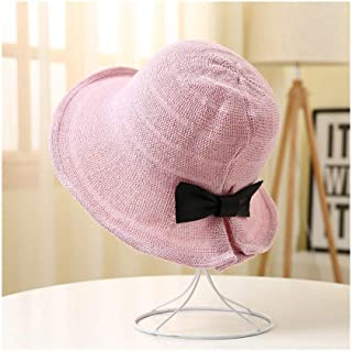 JDSXXZ Protección UV Sombrero para el Sol Sombrero de Pescador Mujer Verano Plegable Tejido a Mano Borde de Paja Sombrero Protector Solar Sombrero de Playa Transpirable Sombrero Fresco