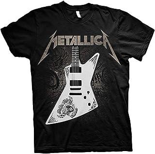 Metallica Papa Het Guitar Hombre Camiseta Negro, Regular
