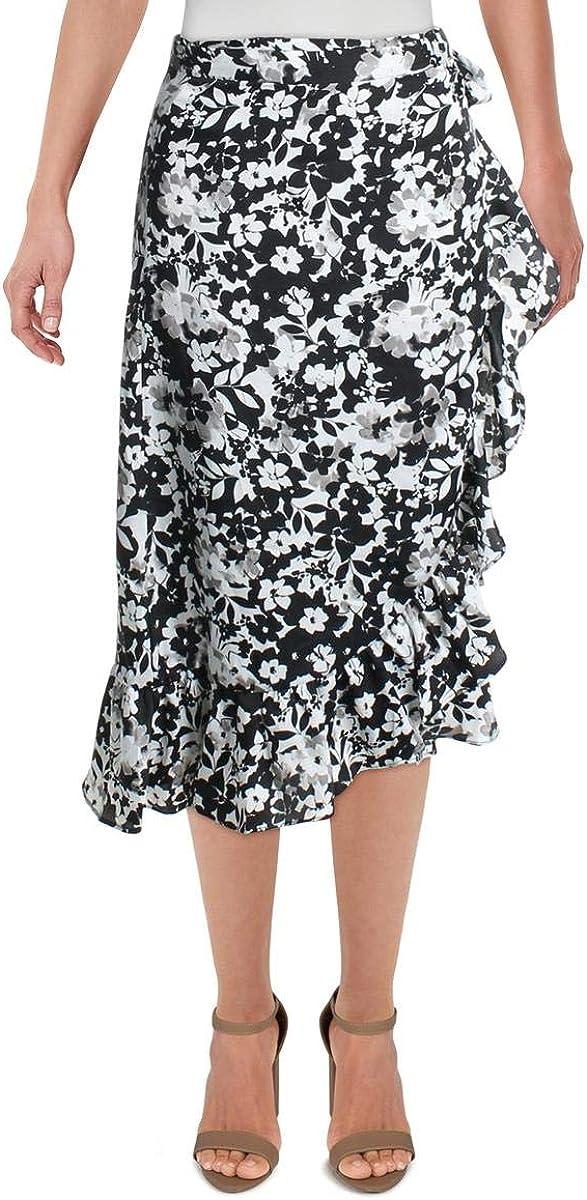 ABS by Allen Schwartz Womens Floral Wear To Work Midi Skirt Black XS