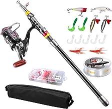 FishOaky Fishing Rod kit, Carbon Fiber Telescopic Fishing...