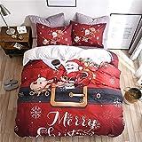 Copripiumino natalizio set biancheria da letto extra-large con Babbo Natale e renne (1 copripiumino, 2 federe) biancheria da letto natalizia super morbida e confortevole