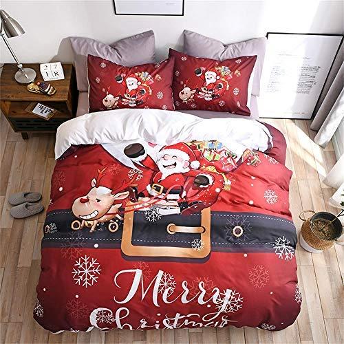 Neighbor Axin Funda de edredón de gran tamaño de Papá Noel con copos de nieve y renos (1 funda de edredón, 2 fundas de almohada), muy suave y cómoda ropa de cama de Navidad (240 x 220 cm)