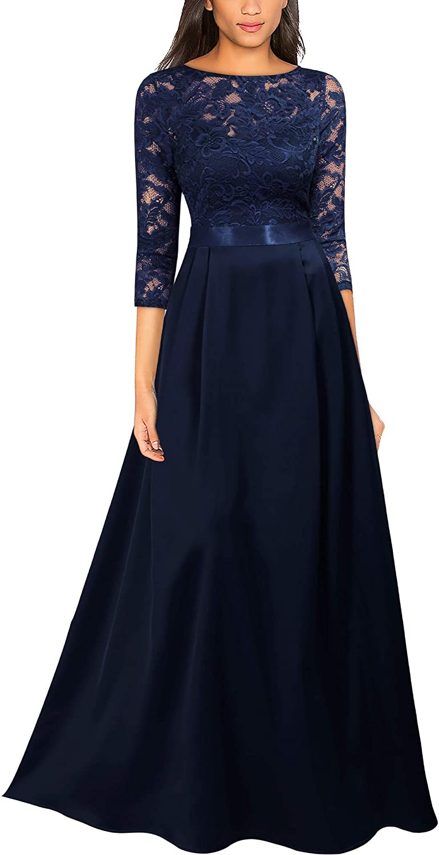Miusol Women's Retro Style Lace Halter Ruched Wedding Maxi Dress