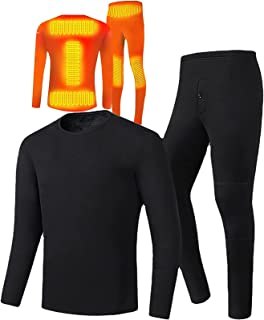 Yokbeer Electrically Heated Thermal Underwear Set, USB Charging Winter Electric Heating Thermal Underwear Outdoor Ski Moto...