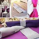 Serviettenring, Tischdeko, Band mit Strasssteinen, Klettverschluss, ideal für Weihnachten und Hochzeit, 100 Stück silber - 2