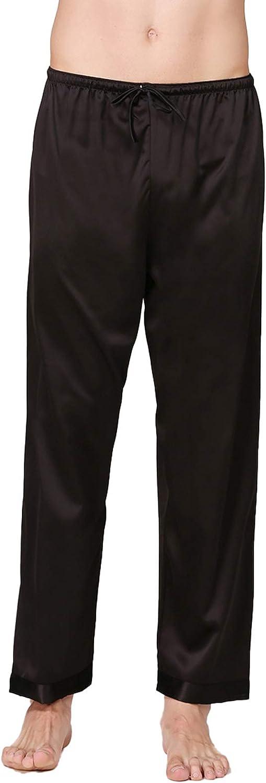 Cicilin Men's Satin Pajama Bottoms Pants Sleep Soft Long Solid Lounging Pants