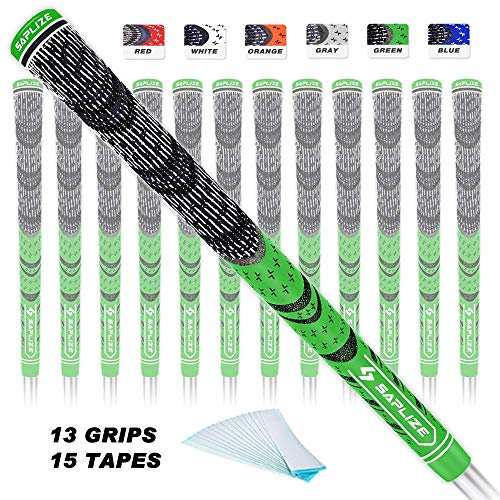 SAPLIZE Golf Grips 13 Pack with Free Tapes Bundle, Cord Rubber Golf Club Grips, Standard Size, Fluorescent Green