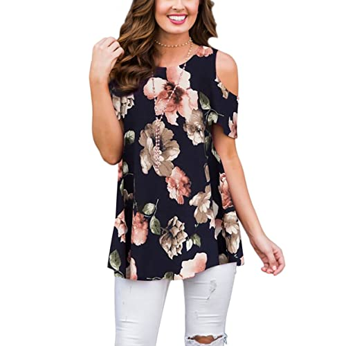 b47c138e7c1a4 XUERRY Women s Swing Floral Print Casual Cold Shoulder Tunic Tops Short  Sleeve Loose Blouse Shirts