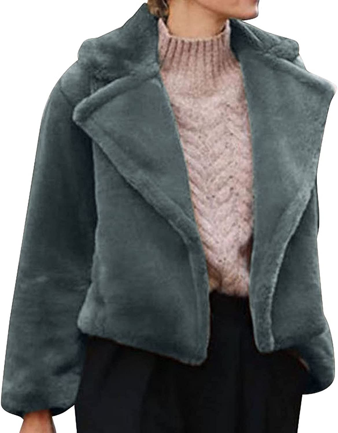 Crop Tops for Women Cardigan Sweater Stylish Lapel Collar Winter Chunky Casual Outwear Heavy Weight Soft Thick Coat