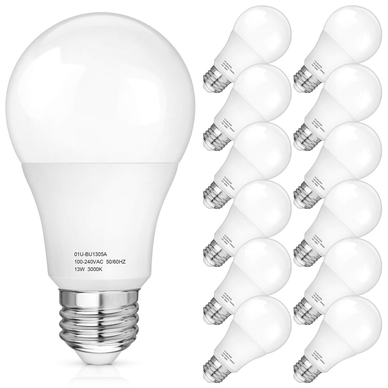 Amazon Com A19 Led Light Bulbs 100 125 Watt Equivalent 3000k Soft White Led Bulb 13 Watt 1500 Lumens E26 Medium Standard Base Cri85 25000 Hours Lifespan No Flicker Non Dimmable Pack Of 12 Home Improvement