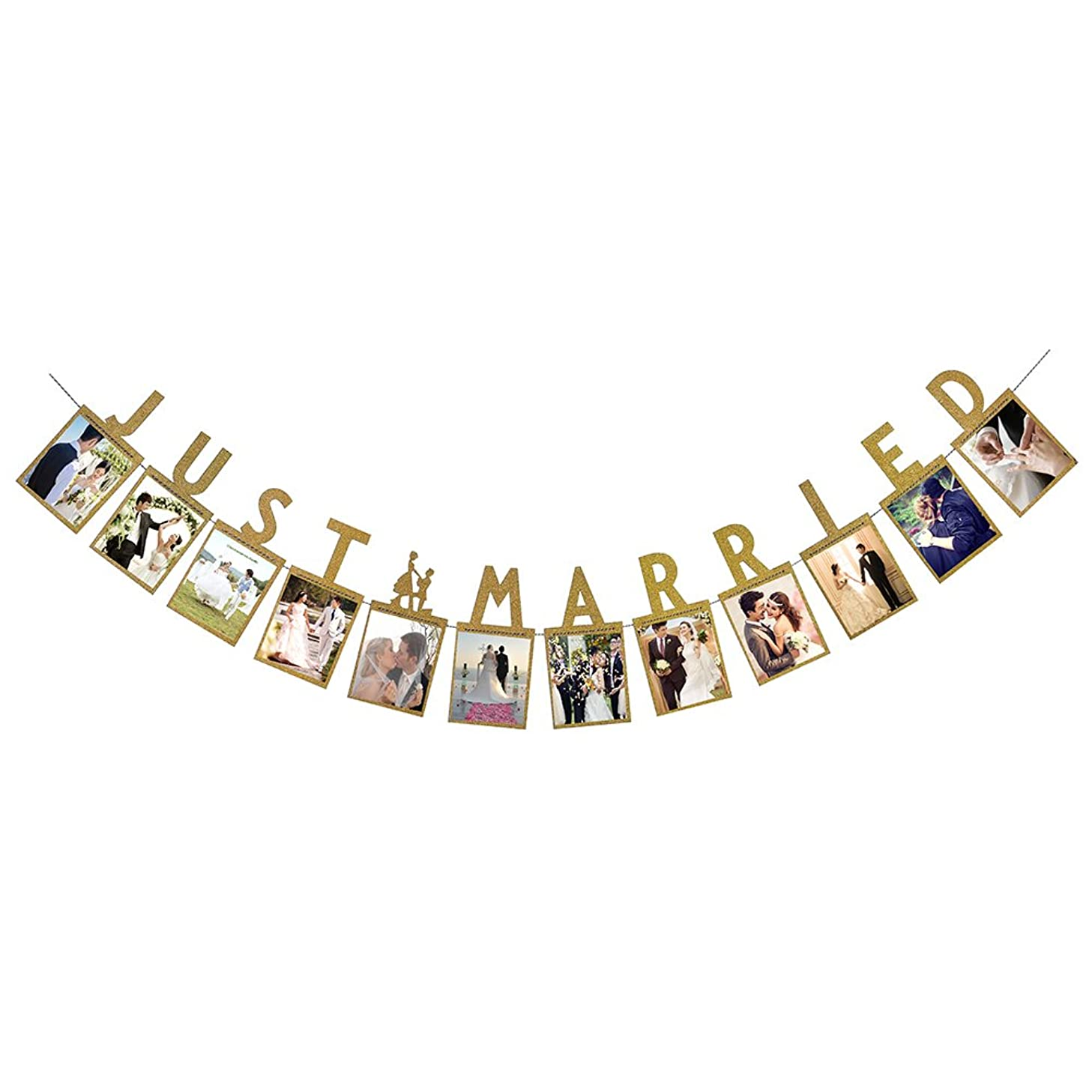 Hatcher lee Just Married Photo Banner Wedding Decor Bunting Photo Booth Props Signs Garland Bridal Shower Decoration Gold
