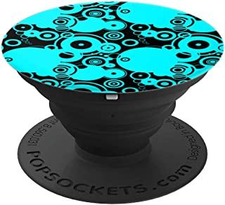 Vector Concentric Circles Teal Aqua on Black - PopSockets Grip and Stand for Phones and Tablets