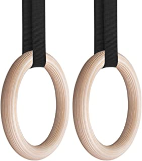 carevas, DorsaWood Gymnastic Rings Gym Rings with 4.5M Adjustable Long Strap for Home Gym Fitness Body Strength and Muscul...