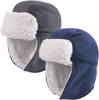 قبعة صوفية صغيرة شتوية مبطنة بالقطيفة للأطفال قبعة الصياد قبعة بسيطة من Earflap للبنات