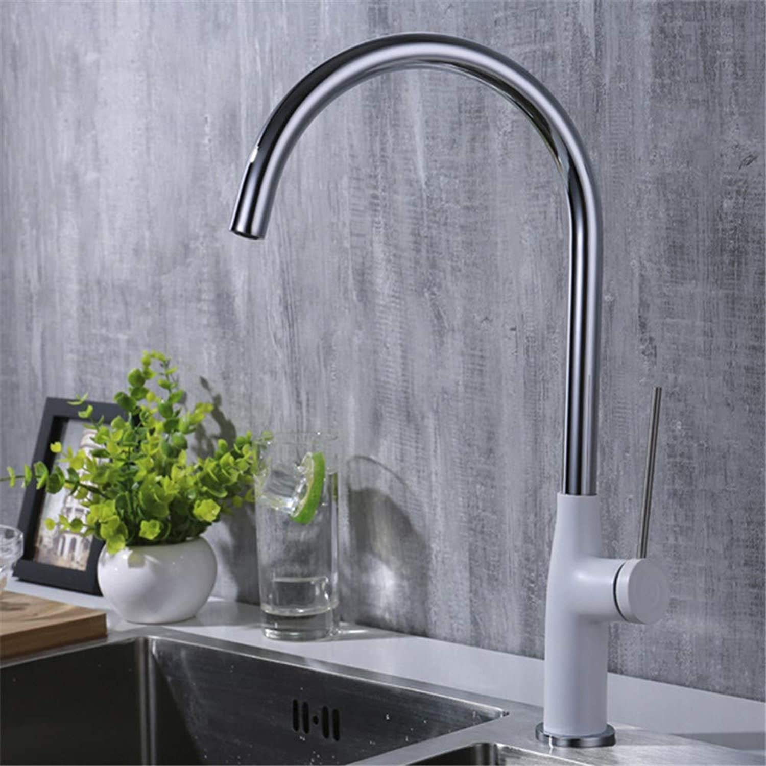 Cwill Hot and Cold Water Mixer Modern Brass Single Handle Kitchen faucets Sink with Long Needle Handle Y40007