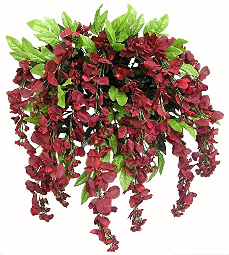 Admired by Nature GPB392-BURG Artificial Wisteria Hanging Flowers Bush, Burgundy, 15 Stem, Burgundy-392