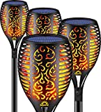 Solar Torch Lights Outdoor Dancing Flickering Flames Pack of 4 Piece Each 96 LED - Flame Solar Lights Outdoors Decorative Waterproof Garden Post Lamp with Solar Battery Powered for Patio