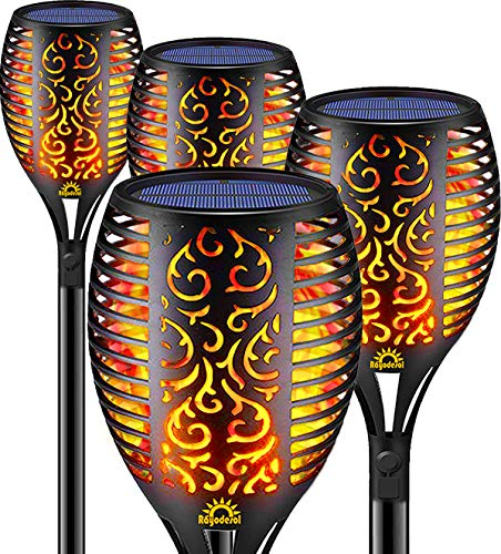 Rayodesol Solar Torch Lights Outdoor Dancing Flickering Flames Pack of 4 Piece Each 96 LED - Flame Solar Lights Outdoors Decorative Waterproof Garden Post Lamp with Solar Battery Powered for Patio