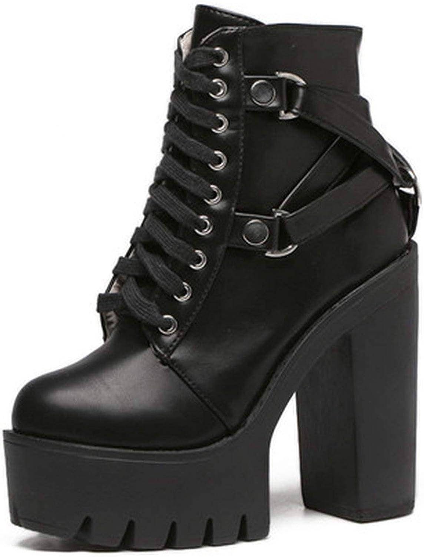 Summer-lavender Fashion Black Boots Women Heel Spring Autumn Leather Platform shoes Woman Ankle Boots High Heels,Black,4.5