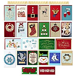 Hallmark Assorted Handmade Boxed Christmas Cards (Set of 24 Premium Holiday Greeting Cards and Envel