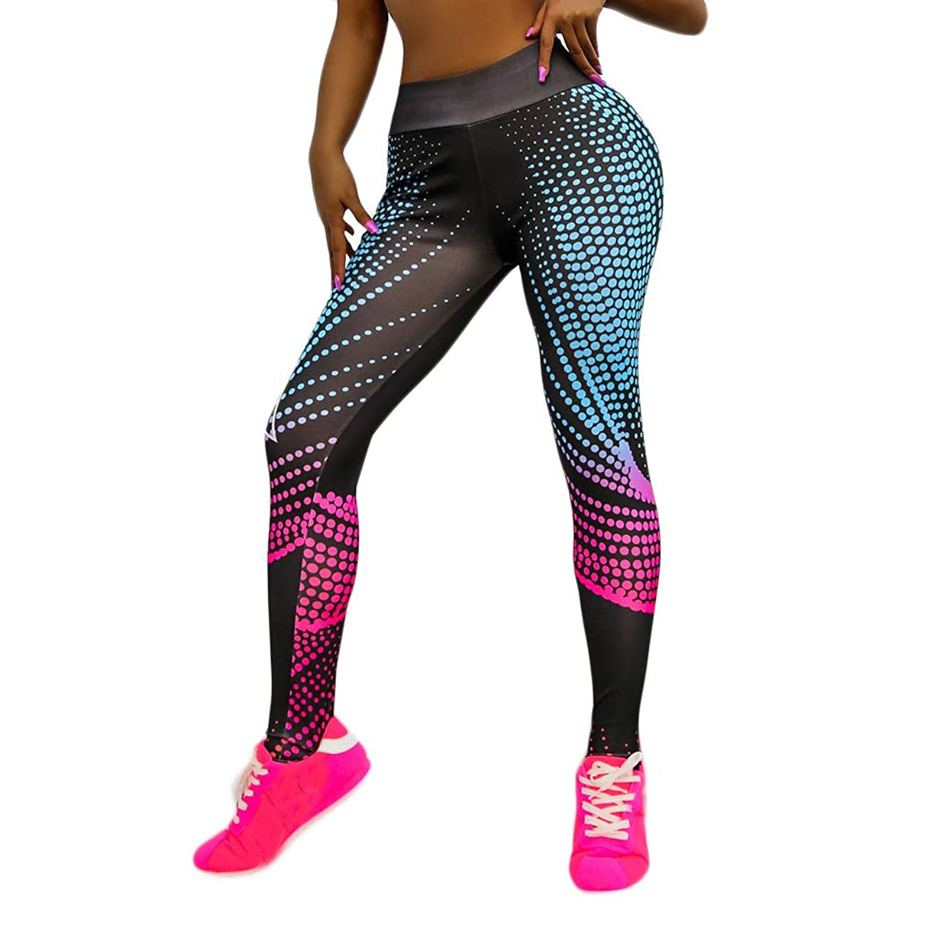 Yoga Pants,Pinleg Women's Digital Printed High-waist Tummy Control Compression Sports Fitness Running Yoga Nine-minute Pants Cropped Trousers (Multicolor, L)