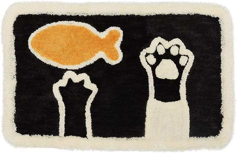 Freehoume Cartoon Anti Slip Bath Mat Rug Shag Shower Mats With Extra Soft And Water Absorbent Door Carpet Entry Indoor Bathroom Living Room Door Mat Cat 17 5 X 25 5