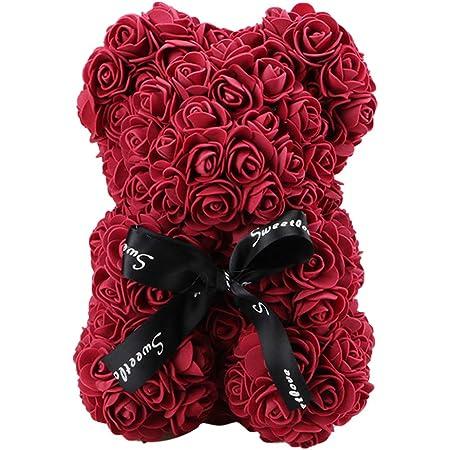 Demiawaking Orso Rose 23 CM Fiori Artificiali Orsetto di Rose Orso Rose Finte in Schiuma Bambola Regalo per Compleanno San Valentin Anniversario Bianco