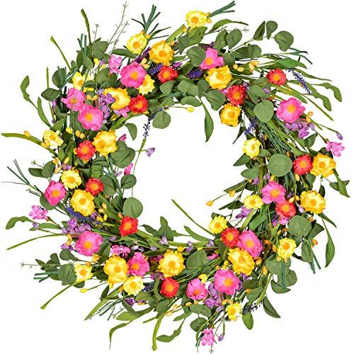 YQing 50cm Künstlich Blumen Türkranz, Lavendel Kranz Gänseblümchen Kranz Groß Blumenkranz mit Grün Blätter Frühlings Kranz Kunstblumen Deko für Zuhause, Parties, Türen, Hochzeiten