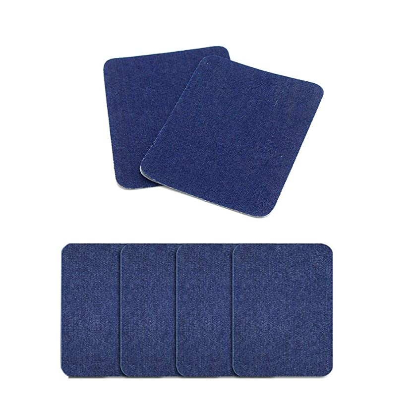 AKOAK 6 Pieces 4.9-inch-by-3.8-inch Iron-On Patches,Iron On Denim Patches Repair Kit for Clothing Jeans (Navy)