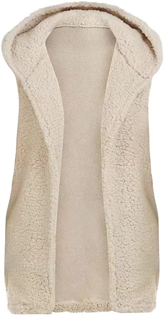 OutTop Women's Fashion Faux Fur Vest Coat Winter Warm Sleeveless Hooded Tops