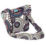 KUNST UND MAGIE Schultertasche Umhängetasche mit bunten Psy Mustern, Farbe:Weiß