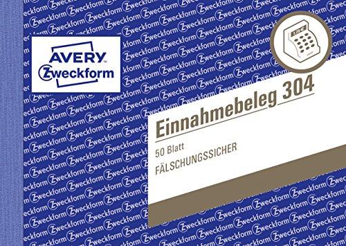 AVERY Zweckform 304 Einnahmebeleg mit Dokumentendruck (A6 quer, von Rechtsexperten geprüft, für Deutschland zur ordnungsgemäßen, kostengünstigen Buchführung, 50 Blatt) grün