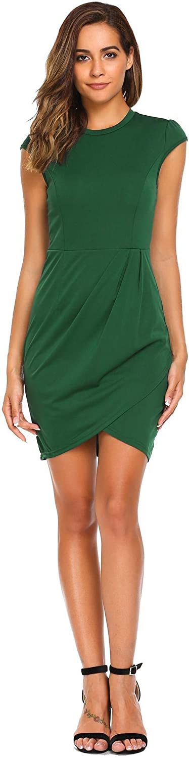 Burlady Women's Round Neck Cap Sleeve Bodycon Sexy Ruched Dress