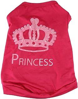 Ropa Perros Pequeña Fossen Corona de Princesa Patrón Camiseta Chaleco Mascota Ropa para Cachorros Hembra (S, Rosa caliente)