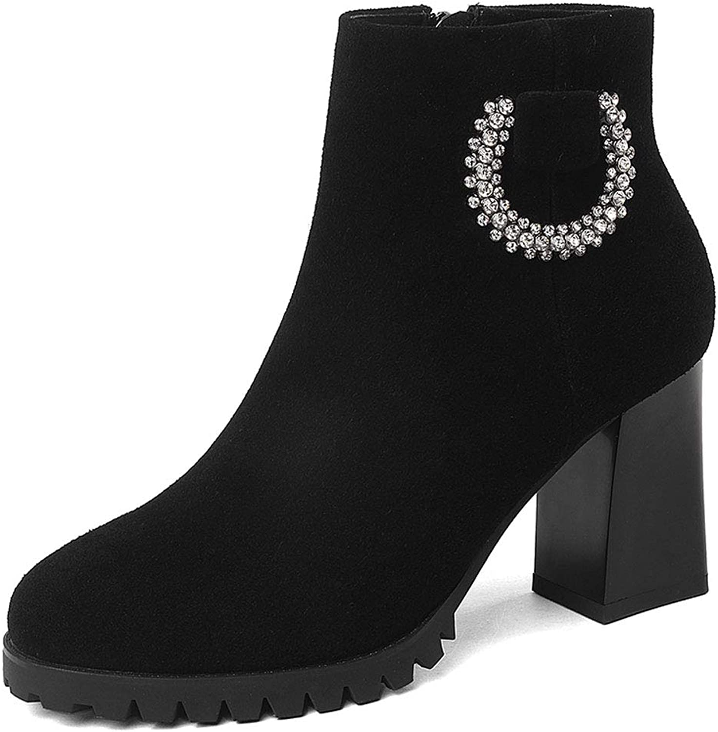 Cowhide Round Head Thick with Short Boots Female Tide Leather Rhinestones Martin Boots Fashion Warm Plus Velvet Large Size Short Tube Women's Boots