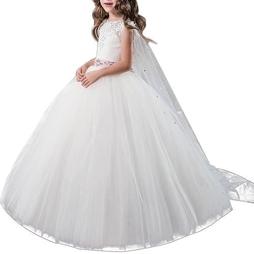 83470226be60 OBEEII Vestito Elegante da Ragazza Festa Matrimonio Damigella Donna Sposa  Cerimonia Prima Comunione Battesimo Carnevale Ballerina