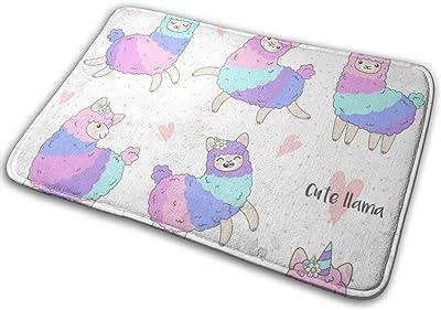 """Cute Pink Colorful Llama Indoor Doormat Front Back Door Mat,23.6""""x15.8"""" Mat Non Slip Large Door Rug"""