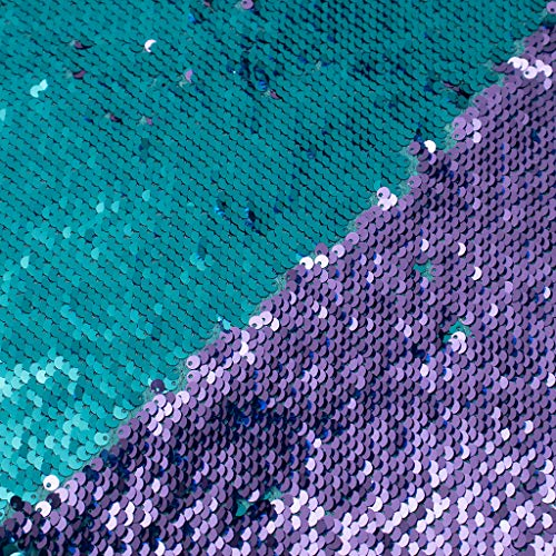 Sequin Fabric Mermaid Fabric 5mm Glitter Fabric 1 Yard Two Tone Sequin Fabric Sparkly Fabric by The Yard Mesh Fabric Reversible Sequin Fabric Great for Dress Wedding DIY (1 Yard, Turquoise to Purple)