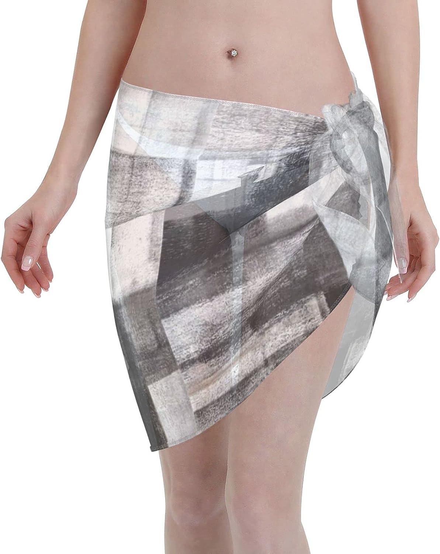 Tiogumg Mottled Women Short Sarongs Beach Wrap Sheer Bikini Wraps Chiffon Cover Ups for Swimwear Black